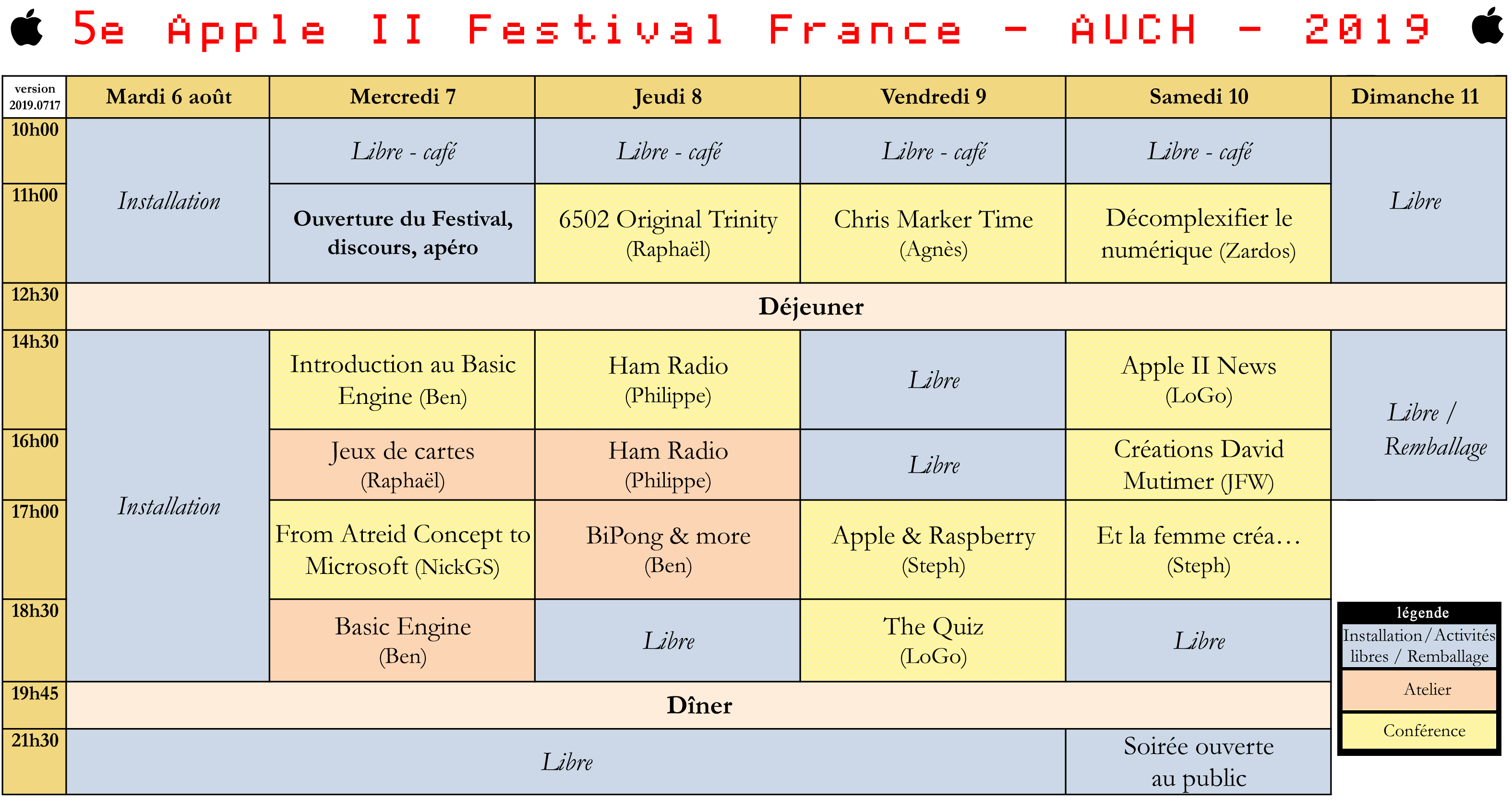 a2ff horaires2019
